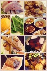 (from the top left) drunken goose, fried oysters, pumpkin ice cream, fernlike veggie, noodles, fried shrimp roll, long yan jello, fried taro, tofu