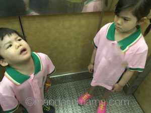 The school issued pink/green polos Gamera hates.